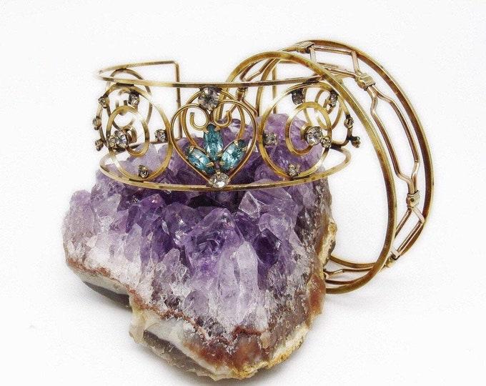 Mid Century Art Deco vintage Gold Tone faceted Rhinestone decorative Cuff Bracelet Set