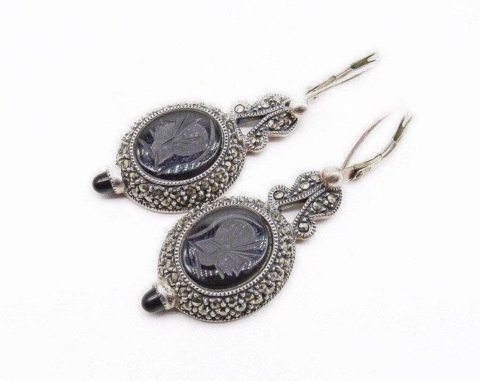 Elegant vintage Judith Jack Victorian Revival Sterling Silver Marcasite Onyx stone Intaglio signed lever back drop earrings