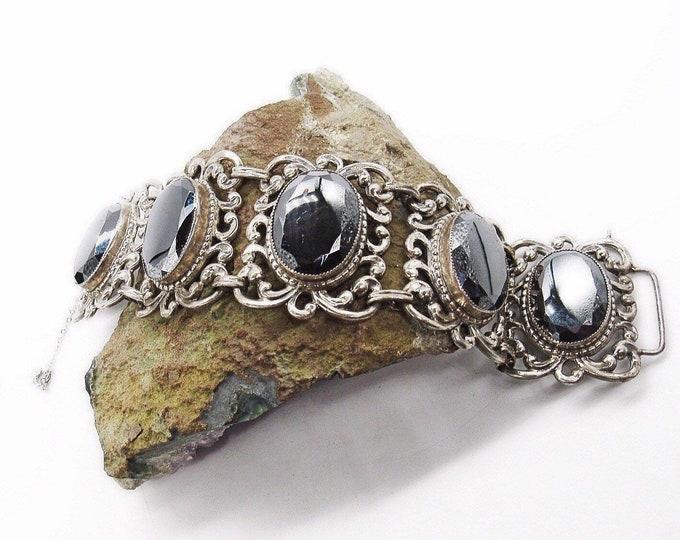 Danecraft Vintage Mid Century ornate Sterling Silver faceted Hematite signed panel link bracelet 65.3 grams