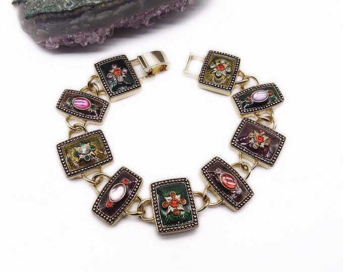 Vintage Napier signed golden tone faceted Crystal Enameled link bracelet