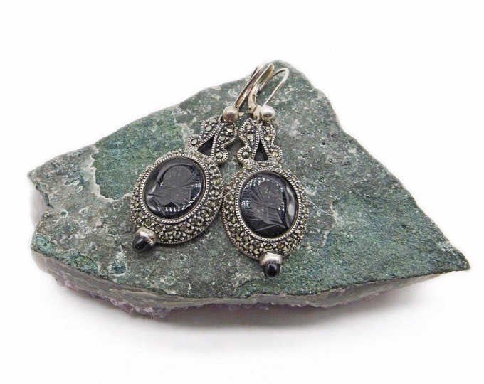 Elegant vintage Judith Jack Victorian Revival Sterling Silver Marcasite Onyx stone Intaglio signed lever back drop earrings