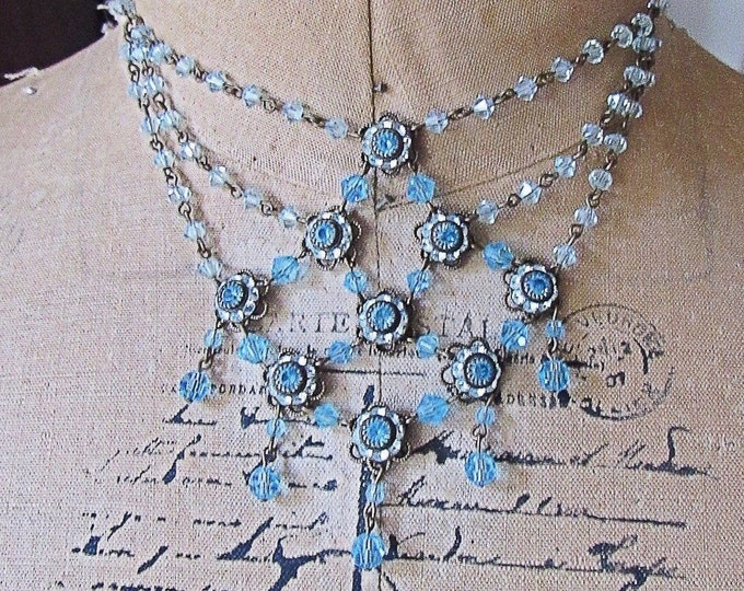 Liz Palacios of San Francisco vintage Victorian Revival antiqued bronze tone faceted Topaz Blue Crystal signed Festoon Necklace