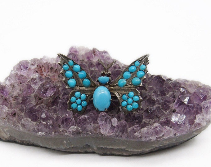 Antique Victorian Sterling Silver Turquoise Glass Seed bead Butterfly Scarf Clip