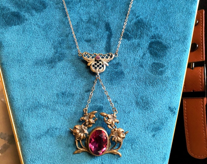 Exceptional antique Victorian Era antiqued decorative Floral Motif Brass tone faceted Ruby Paste Stone accented Lavaliere Necklace