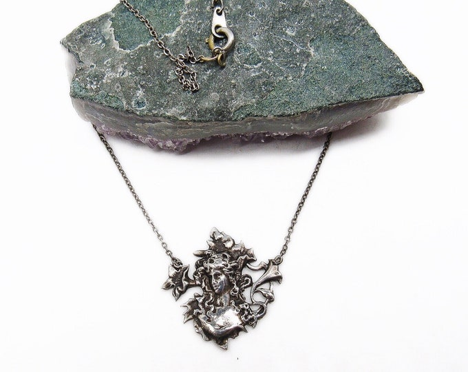 Beautiful Antique Mucha style  Art Nouveau Sterling Silver Floral Motif with Maiden delicate signed Pendant Necklace
