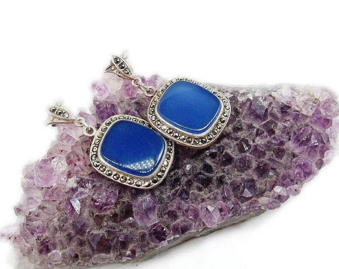 Demur vintage Art Deco Sterling Silver Marcasite Ethereal Blue Chalcedony 1930s Drop Earrings