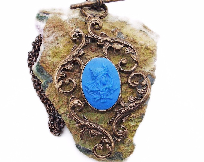 Rare Extasia vintage Victorian revival antiqued bronze opaque French Blue hand pressed German glass Athena signed cameo necklace