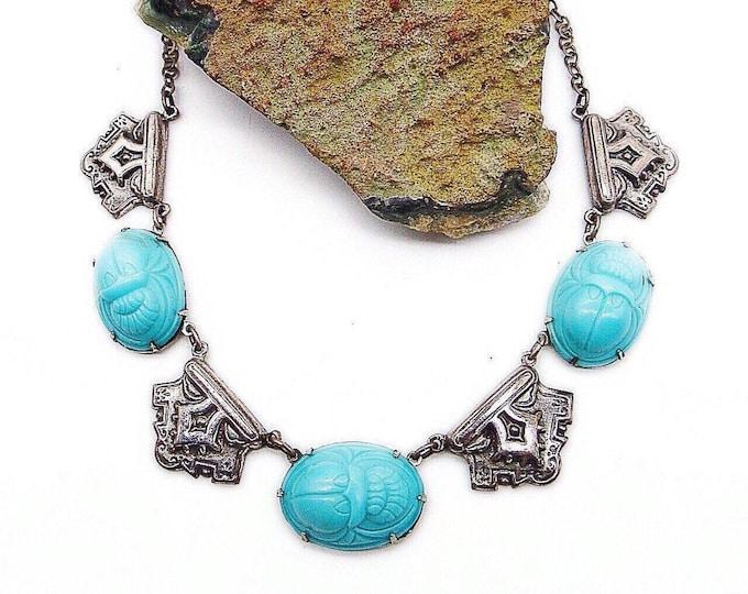 Egyptian revival vintage Scarab Delphite opaque molded blue glass Art Deco silver tone necklace circa 1940s-1950s
