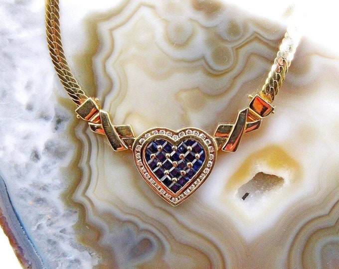 Vintage 14K Faceted Sapphire Baguette Diamond accented Heart signed Herringbone Necklace