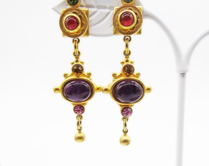 Gorgeous Natasha Stambouli vintage Victorian revival 24k gold plated semi precious bejeweled signed drop statement earrings