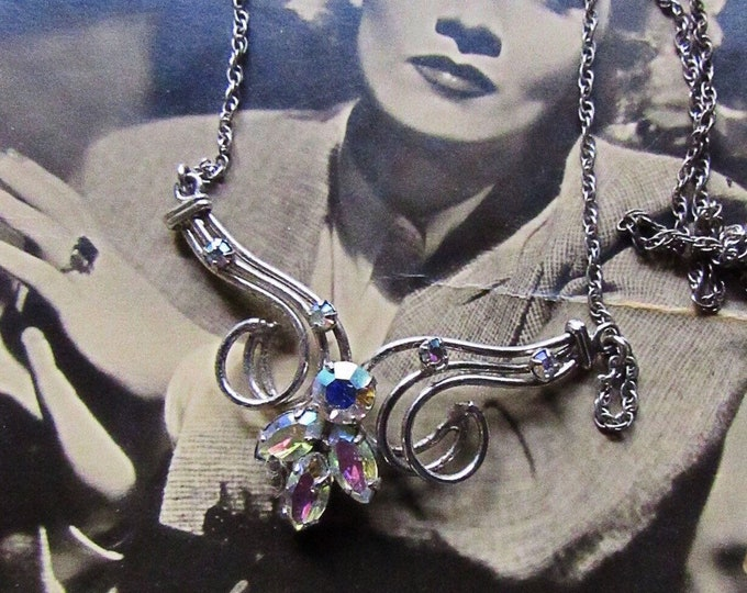 Mid Century vintage Art Deco style Sterling Silver Aurora Borealis Rhinestone accented signed Choker Necklace