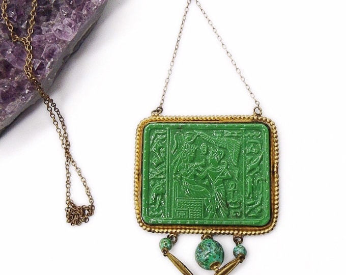 Amazing Egyptian Revival Max Neiger molded jade Czech Glass scarab  hieroglyphic pendant vintage lariat necklace