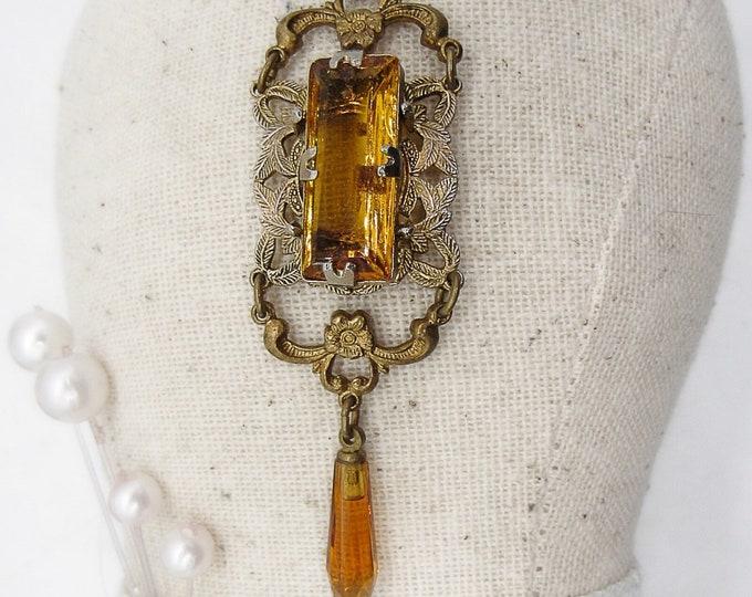 1930s Art Deco ornate antiqued brass tone Topaz yellow Czech Glass drop pendant necklace