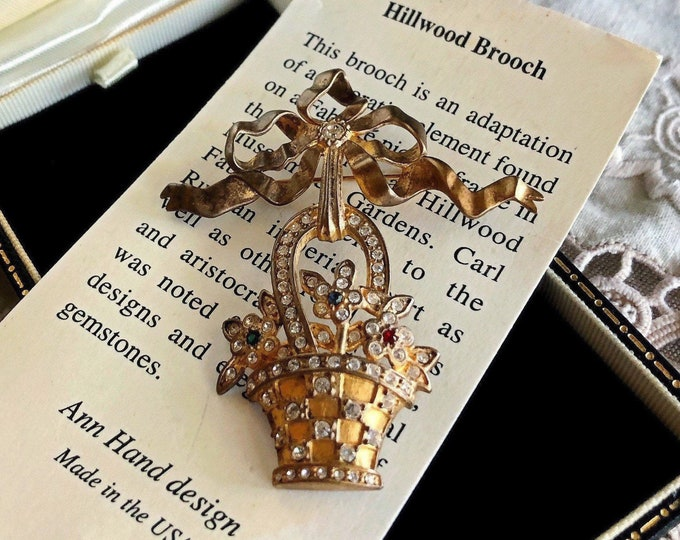 "Unique vintage Ann Hand ""Nobel Eagle"" 24K gold plated Sterling Swarovski Crystal Bow with Basket Dangle Brooch with original Box!"