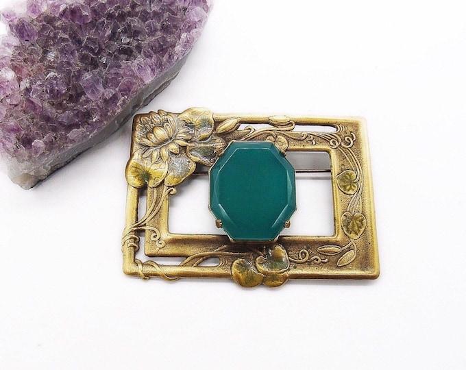 Sadie Green vintage Art Nouveau revival golden tone enamel emerald green glass signed brooch statement brooch