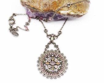 Vintage SORRELLI RHINESTONE NECKLACE Austrian Crystal Rhinestone Boho Hippie Necklace