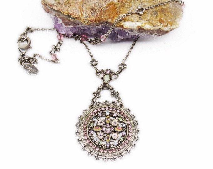 Retired Sorrelli vintage silver toned faceted Austrian Crystal signed Medallion Designer Pendant Necklace