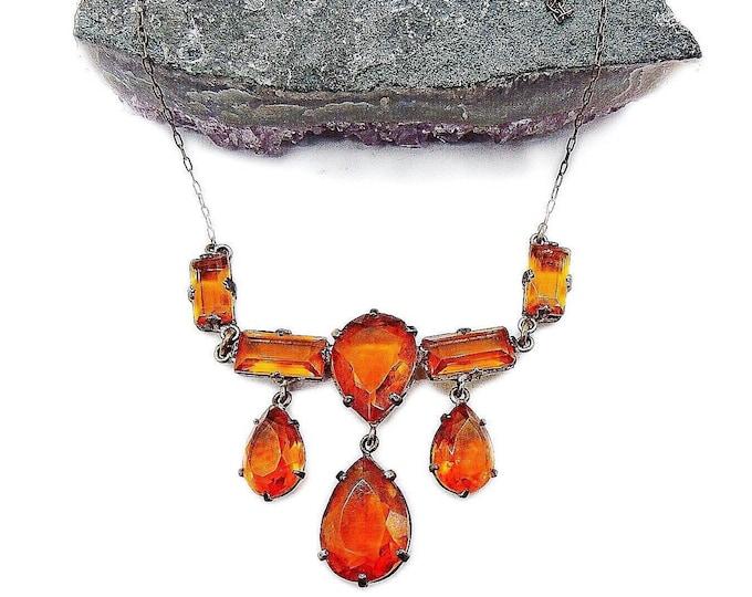1930s Vintage Czechoslovakia Art Deco antiqued brass tone faceted Amber Czech Glass bib Necklace
