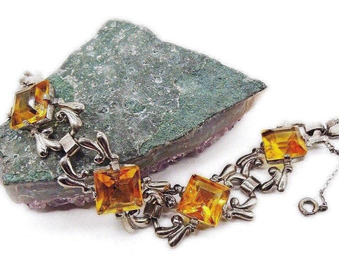 Vintage Art Deco 1930s Sterling Silver faceted Topaz Yellow Rhinestone signed Link Bracelet