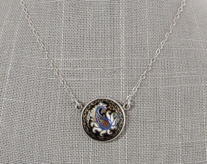 Simon Sebbag SSD Israel vintage sterling silver enameled pendant necklace