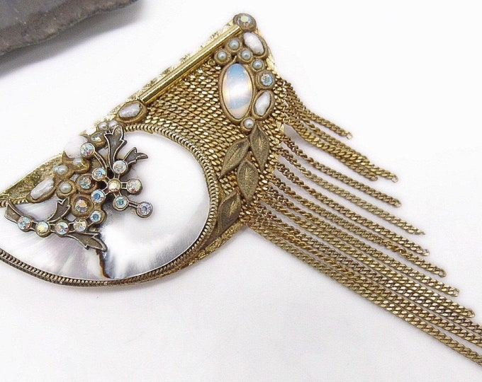 Exquisite vintage Marena West Germany Art Deco Revival 18k Gold plated Mother of Pearl with Opalite designer Runway Brooch