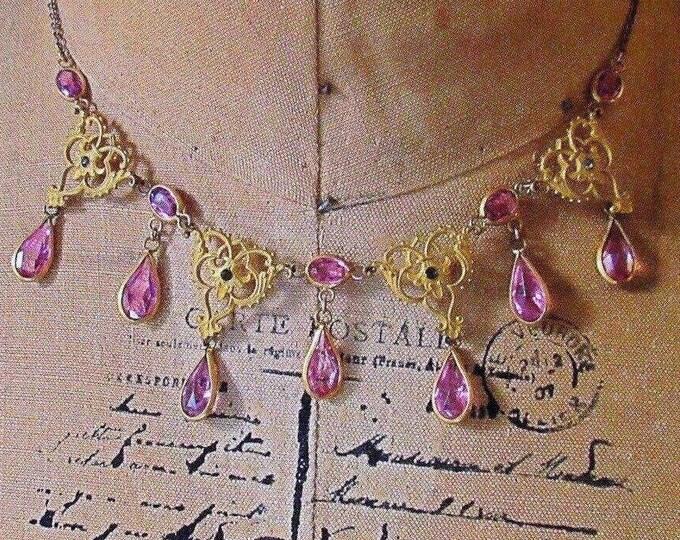 Antique Estate Victorian circa 1890-1910s ornate gold plated Amethyst glass paste beautiful bib necklace