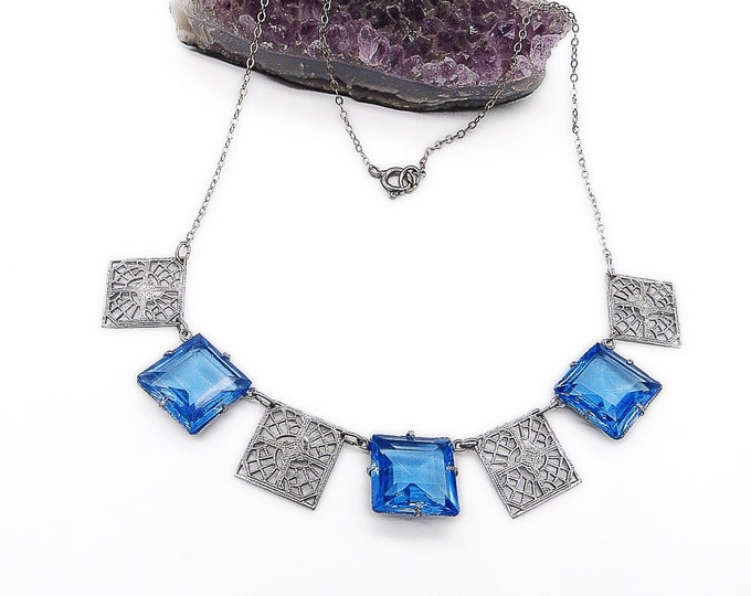 1930s vintage Art Deco Rhodium plated filigree blue topaz faceted glass panel choker necklace