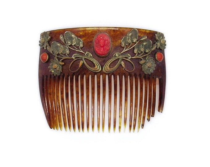 Late Victorian antique celluloid faux tortoise shell headdress comb with Art Nouveau gilded gold metal and carved coral cameo