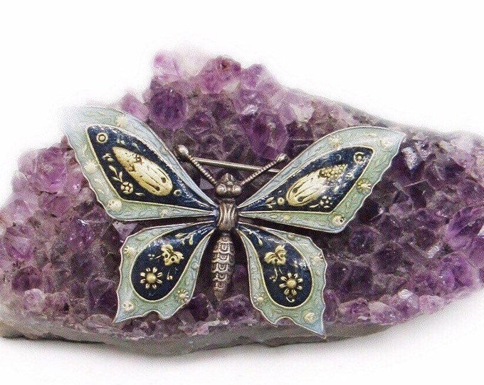 Catherine Popesco of France La Vie Parisienne vintage antiqued silver beautiful Enamel gold accented Butterfly Brooch