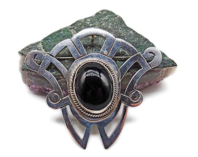 1970s Vintage Mexico Modernist Art Deco designed Sterling Silver authentic Onyx Cabochon signed Brooch/Pendant