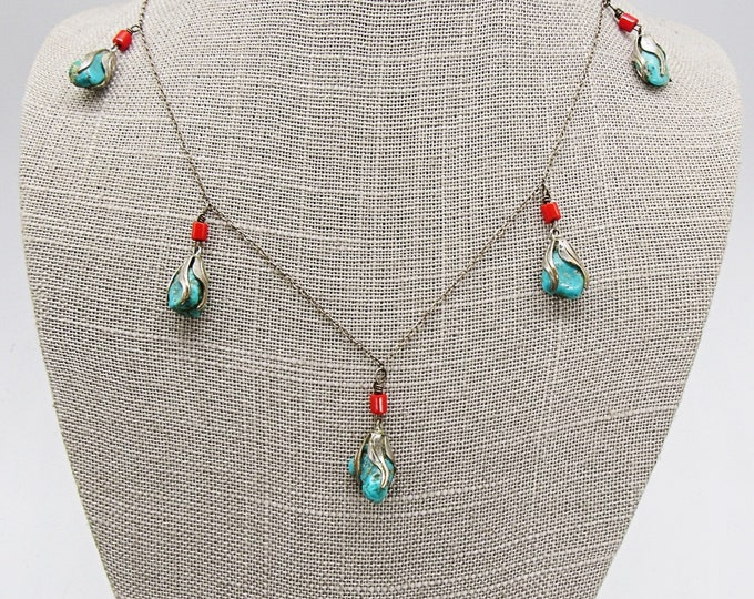 Vintage sterling silver red glass bead sterling capped Turquoise nugget stamped necklace