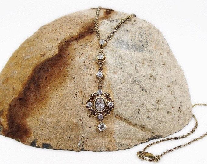 Vintage Victorian Revival Sterling Silver Vermeil faceted CZ Lariat style Necklace