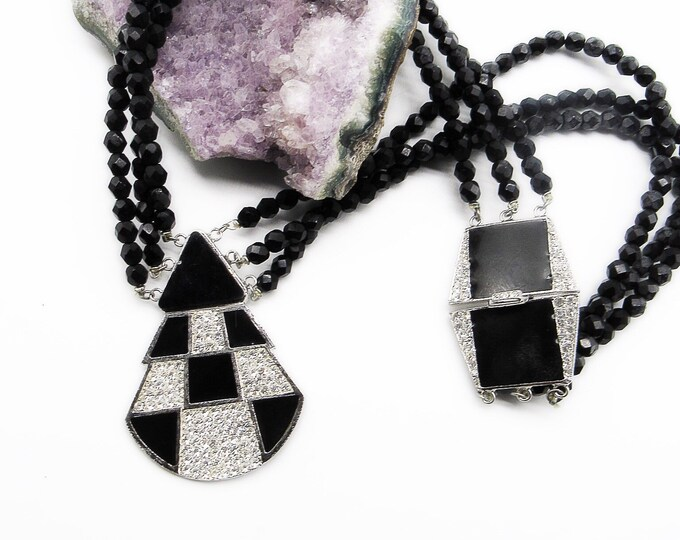 Alexis Kirk Vintage Estate Art Deco silver tone black enamel and beads signed Runway statement necklace