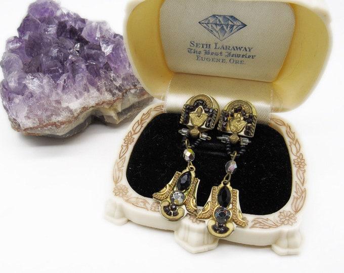 Beautiful vintage Adaya Art Deco design antiqued brass faceted Austrian Crystal Czech Glass Bead signed Designer Earrings