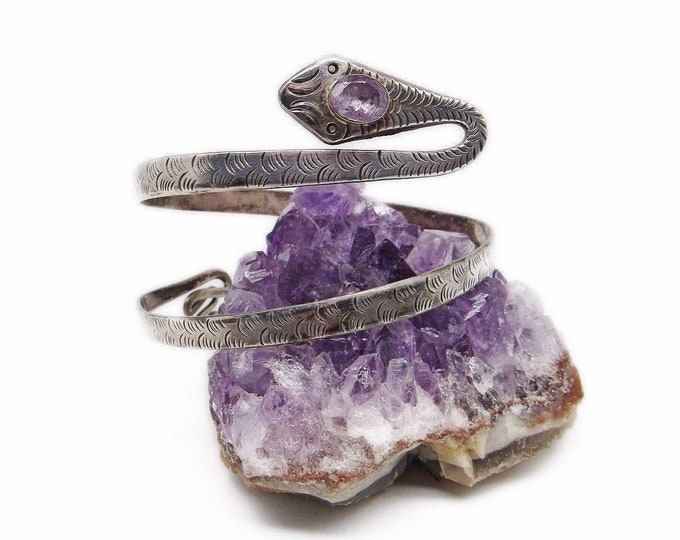 Vintage Egyptian Revival Sterling Silver faceted Amethyst Crystal handcrafted Serpent Snake Upper Arm Cuff Bracelet