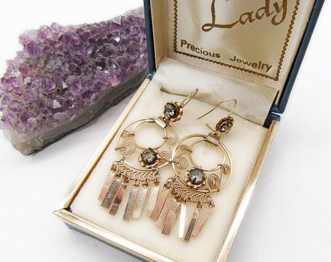 Antique Edwardian 10k Gold Faceted Paste Stone delicate pierced drop Earrings