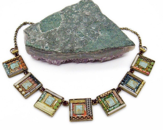 Ayala Bar of Israel vintage antiqued Brass faceted Austrian Crystal Czech Glass Bead Enamel Metal work Mosaic Bib Necklace