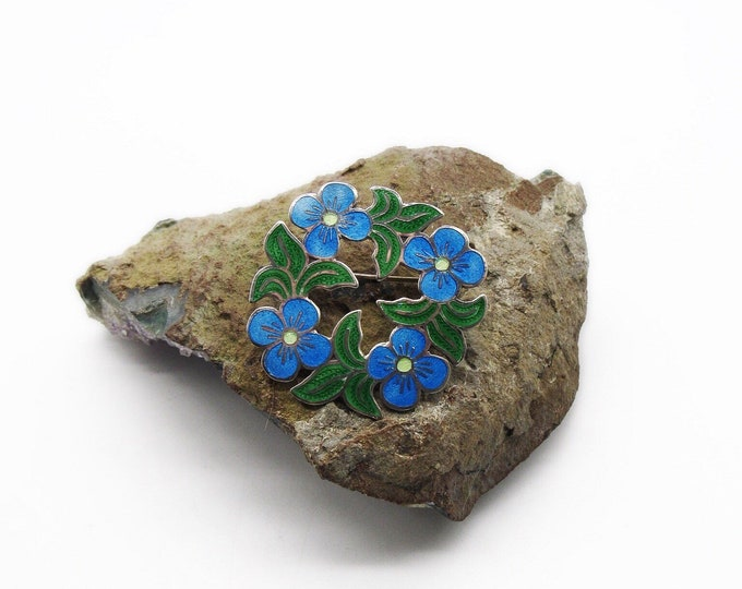Jeronimo Fuentes Vintage Mexico Sterling Silver Beautiful Floral Enamel signed Estate brooch