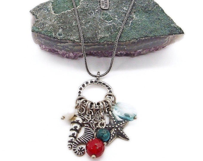 Vintage signed Israel Sterling Silver faceted crystal Sea Creature Charm Necklace