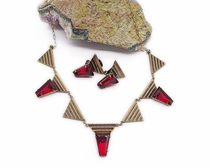 Gorgeous Sadie Green Vintage Art Deco Revival antiqued brass faceted Ruby Red Crystal signed Necklace and Earrings Demi parure
