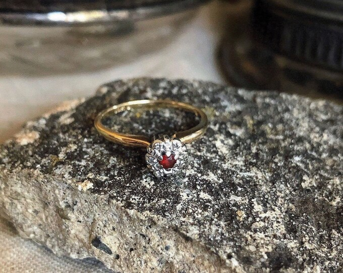 Darling vintage Art Deco 10K White and Yellow Gold faceted Garnet White Sapphire accented size 6.5 signed Ring