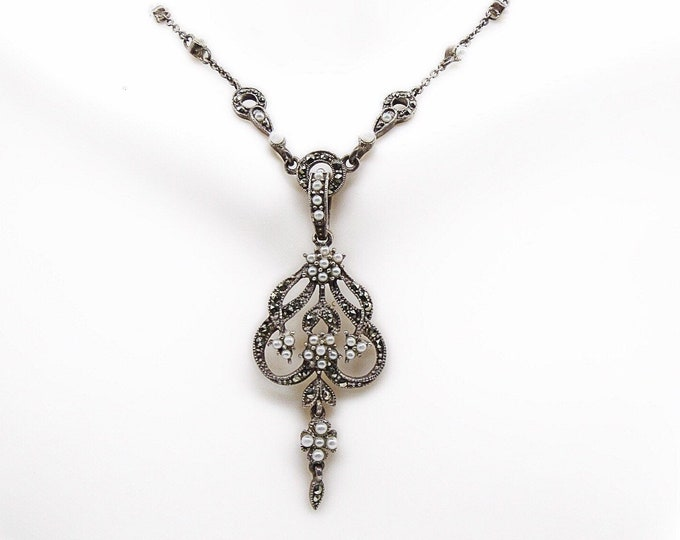Vintage French Regency Revival Sterling Silver Marcasite Seed Pearl accented signed Necklace