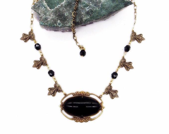 Sadie Green Vintage Art Deco Revival antiqued brass smooth Jet Glass decorative pendant signed Bib necklace