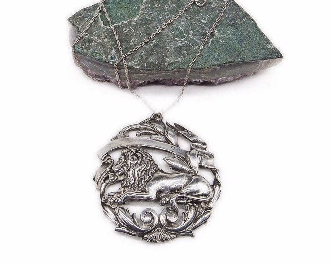 Vintage Art Nouveau Revival Sterling Silver handcrafted Lion with Floral Motif signed Medallion pendant necklace
