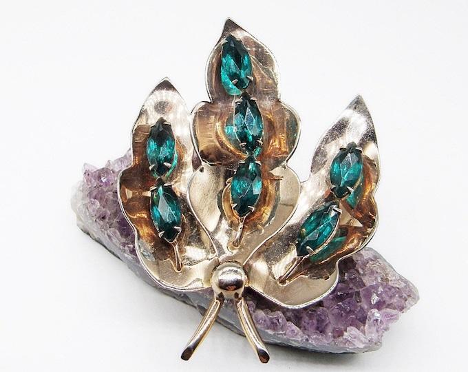 Jolle sterling emerald rhinestone large botanical designer signed brooch