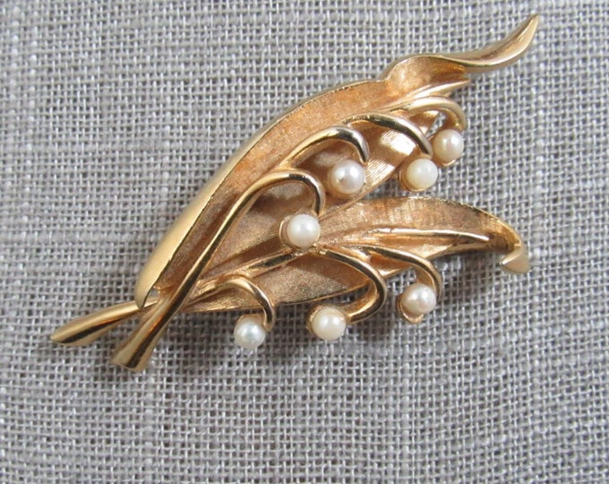 """Vintage Boucher gold plated """"Lily of the Valley"""" signed brooch with cultured pearls  FREE SHIPPING"""