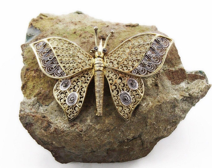 Alice Caviness Vintage Germany 1940s Sterling Vermeil filigree Marcasite accented Movable Kinetic signed Butterfly brooch