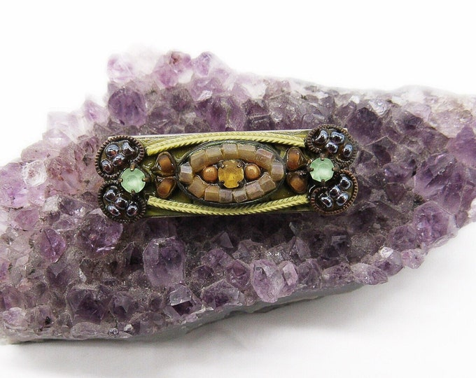 Designer Ayala Bar of Israel vintage Austrian crystal Czech Glass beads brass signed brooch