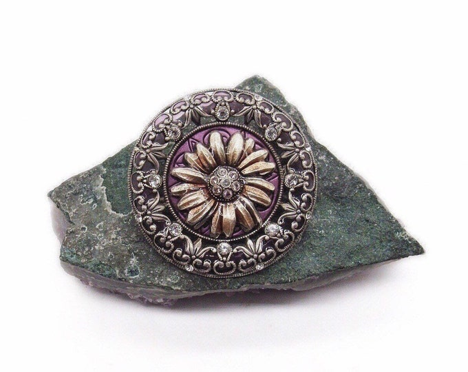 La Vie Parisienne Catherine Popesco France vintage retired antiqued silver tone faceted Crystal purple Glass and Enamel signed flower brooch
