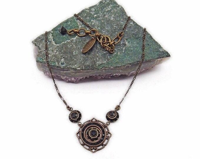 Liz Palacios of San Francisco vintage retired antiqued brass tone Jet Black faceted Crystal signed designer necklace